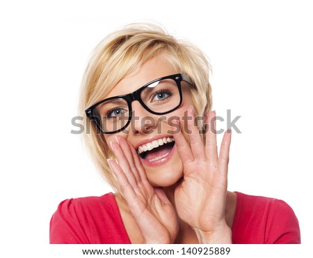 Blonde woman shouting - stock photo