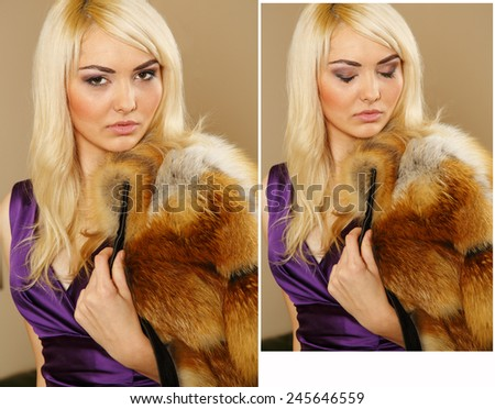 Blonde woman wearing a fur coat. Coat of fox fur wearing a beautiful woman. Red fur. Girl showing makeup on her face. Concept for advertising winter clothing. Beautiful luxury winter woman in fur coat - stock photo