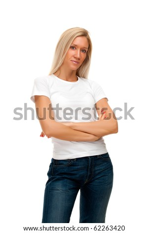 Blonde woman wearing jeans - stock photo
