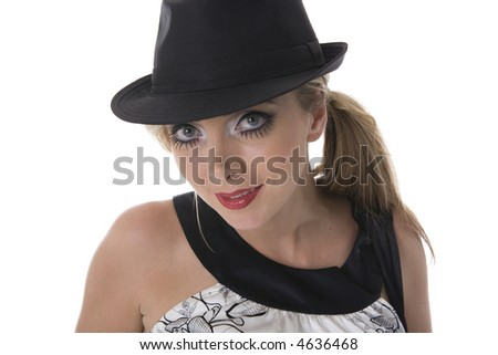 Blonde woman with big blue eyes dressed retro with black hat isolated on white.