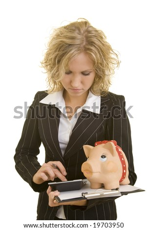 Blonde woman with clipboard - stock photo