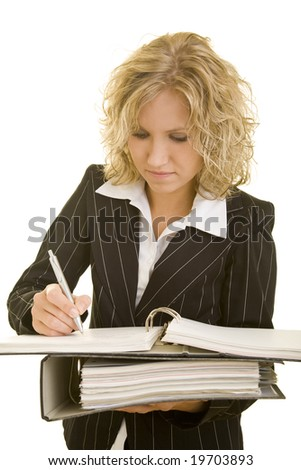 Blonde woman with folders - stock photo