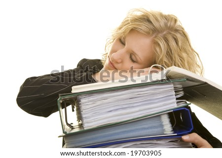 Blonde woman with folders