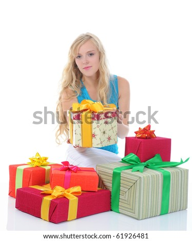 Blonde woman with gifts. Isolated on white background