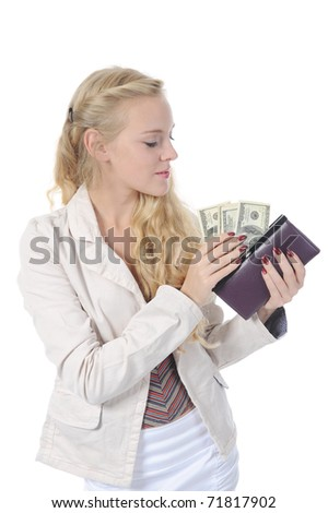 Blonde woman with money . Isolated on white background