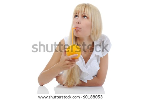 Blonde woman with orange drink. Isolated on white background - stock photo