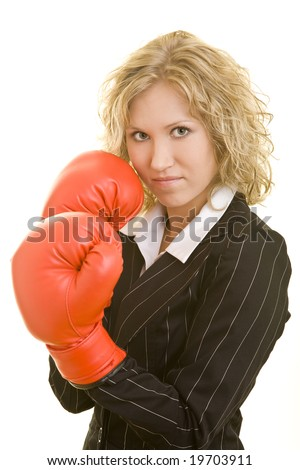 Blonde woman with red boxing gloves - stock photo
