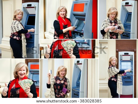 Blonde woman withdrawing money from credit card at ATM