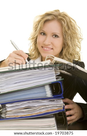 Blonde woman working in the office - stock photo