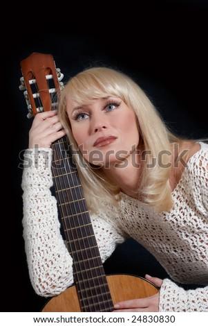blonde women and guitar - stock photo