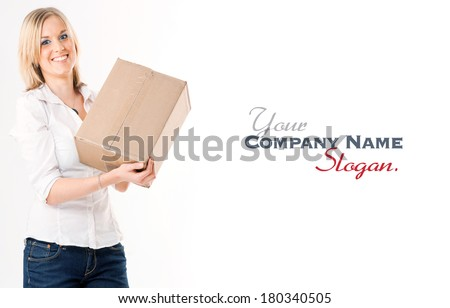 Blonde young  woman holding a cardboard package  - stock photo