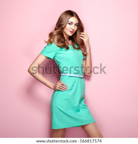 Blonde Young Woman Elegant Green Dress Stock Photo Royalty Free 566817574 Shutterstock