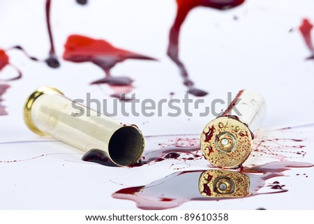 blood and crime scene concept on white - stock photo