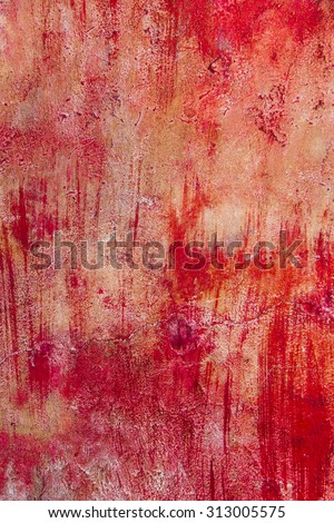 blood background cracked old cement wall - stock photo