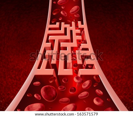 Blood circulation problems and blocked arteries health care concept with a human artery that has a blockage shaped as a maze or labyrinth as a metaphor for the medical circulatory challenges. - stock photo
