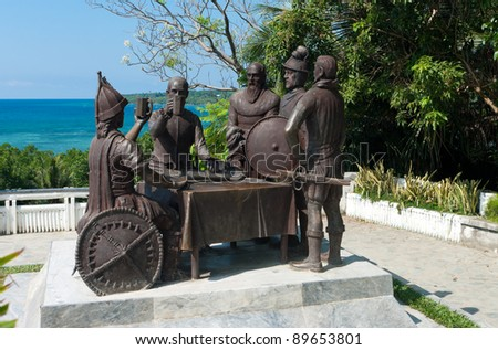 Blood Compact statue in Tagbilaran City, Bohol, the Philippines, commemorating the peace pact between Datu Sikatuna and Miguel L?pez de Legazpi in 1565. - stock photo