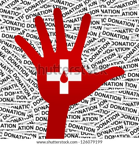 Blood Donation Concept Present By Red Blood Drop in White Cross Sign on Hand in Donation Label Background - stock photo
