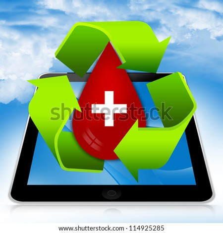 Blood Donation Concept Present By Tablet PC With Green Recycle Sign Around Red Blood Drop With White Cross Sign Inside in Blue Sky Background - stock photo