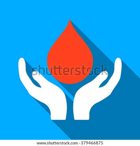 Blood Donation Hands long shadow raster icon. Style is a flat light symbol with rounded angles on a blue square background. - stock photo