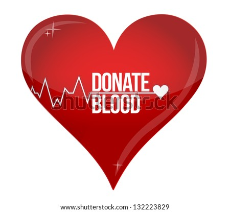 Blood donation medicine help hospital save life heart illustration design over white - stock photo
