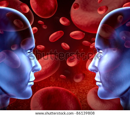 Blood donations with different blood group and types with red blood cells flowing through veins and human circulatory system for donors and recipients of transfusions with human heads face to face. - stock photo