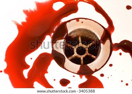 blood draining from the white bathroom basin - stock photo