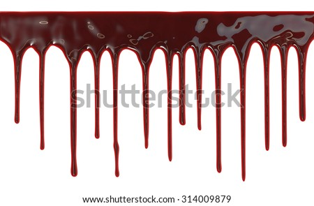 Blood dripping down over white background - stock photo