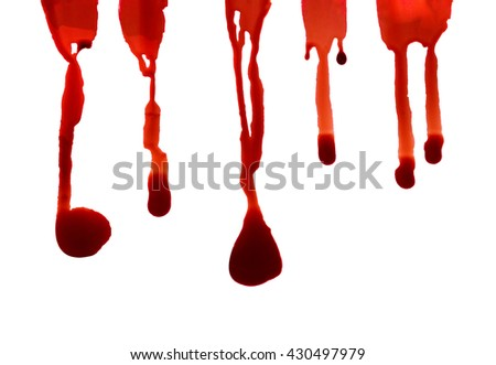 Blood drips oozing down macro on white background - stock photo