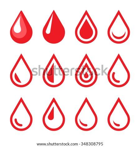 Blood Drop Emblem. Logo Template. Icon Set - stock photo