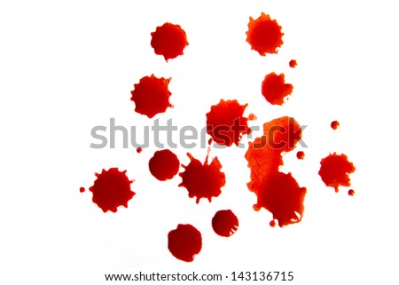 Blood droplets (stains, splatter) isolated on white background close up - stock photo