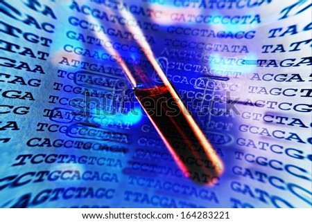 Blood in test tube and background with chemical formula.  - stock photo