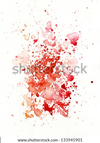 blood like watercolor decoration