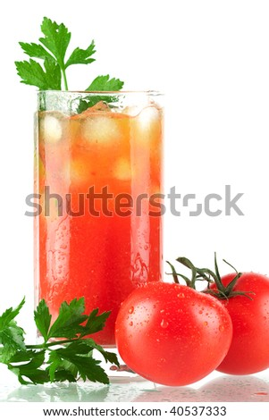 Blood mary alcohol cocktail with tomatoes and celery