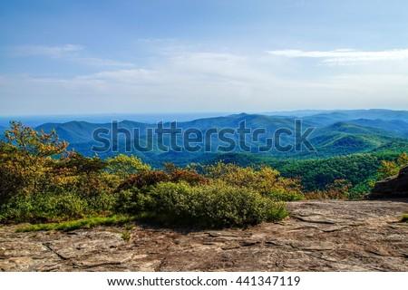 Blood Mountain Vista Appalachian Trial, Blood Mountain, Georgia - stock photo