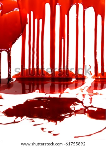 blood on the wall - stock photo