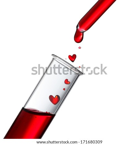 Blood or love potion drops in heat shape from glass pipette to test tube, donor or love concept - stock photo