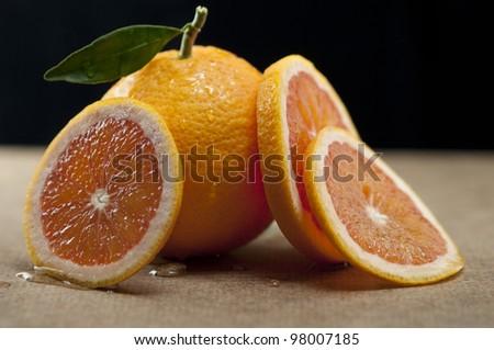 Blood Orange and Slices - stock photo