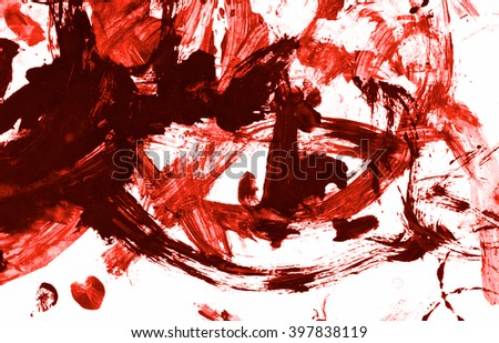 Blood paint stroke Isolated on white paper background. Red acrylic paint stroke texture grunge. Abstract acrylic hand painted splash. Murder, suicide and killing. Close up. - stock photo