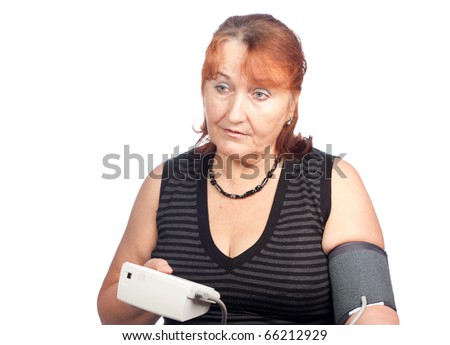 Blood Pressure Check, senior woman - stock photo