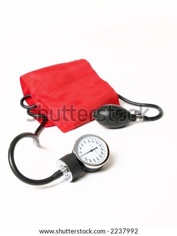 Blood pressure cuff and gauge - stock photo