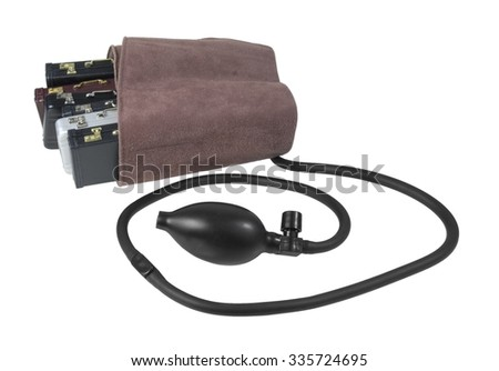 Blood pressure cuff around briefcases to show pressure on the job - path included