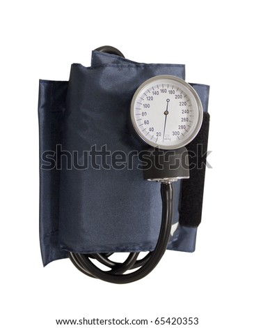 blood pressure cuff isolated on a white background - stock photo