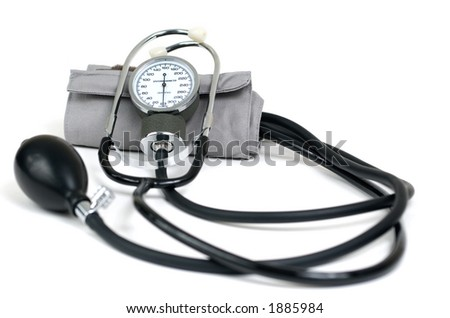 Blood pressure cuff isolated on white. - stock photo