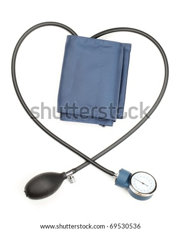 Blood pressure cuff,isolated on white. - stock photo