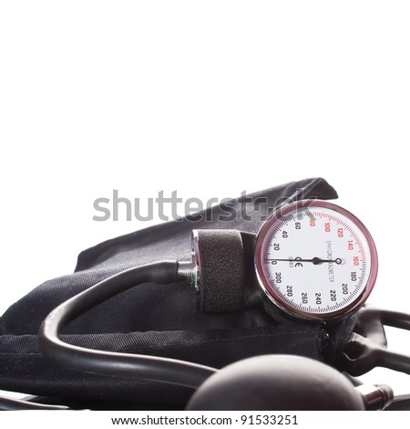 Blood pressure device over white background