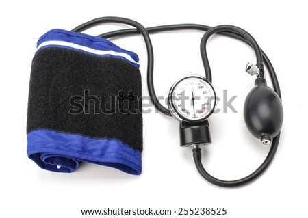 Blood pressure equipment isolated on the white background - stock photo