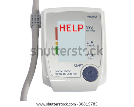Blood pressure equipment with help word on the screen