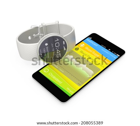 Blood pressure information synchronize from smart watch - stock photo