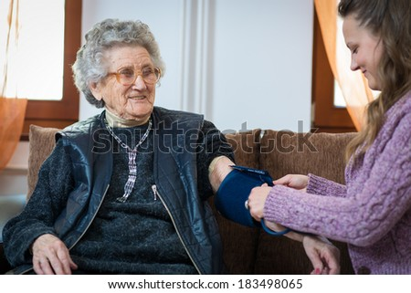 Blood pressure measuring.Health care.  - stock photo
