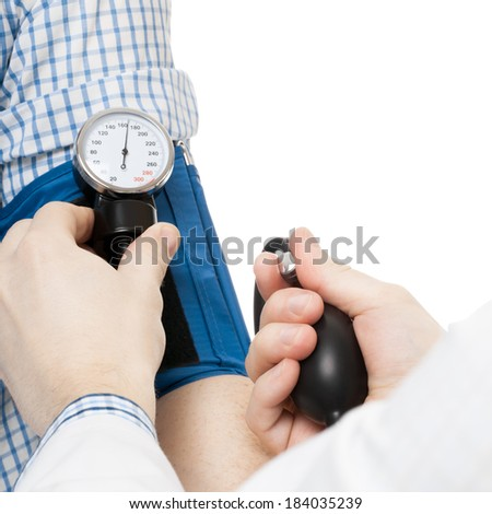 Blood pressure measuring tools and all things related. Doctor measuring patients blood pressure - 1 to 1 ratio